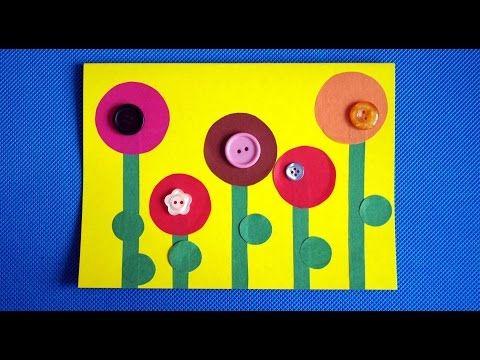 Цветы из пуговиц. Открытка на день рождения бабушке или маме. Аппликации из цветной бумаги. - YouTube