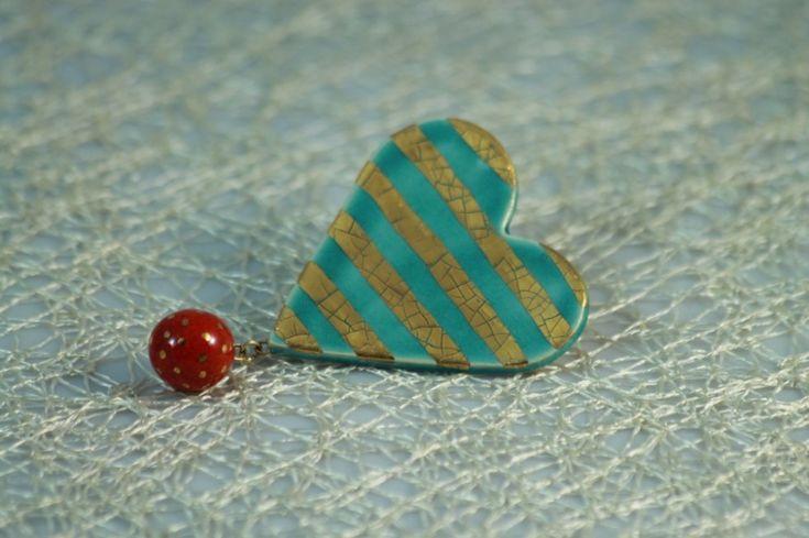 Keramická srdiečková brošňa - Obchodprebaby.sk - Ručne vyrábané šperky a doplnky
