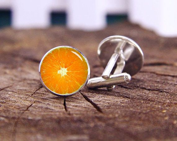 Orange Slice Gemelli gemelli arancione, gemello personalizzato frutti, frutta cravatta barre, personalizzato matrimonio gemelli, gemelli sposo, tiranti o set