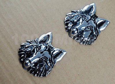 2X Chrome 3D Zinc Alloy Wolf Emblem Badge Decal 3M Sticker For Yamaha Motor/Tank