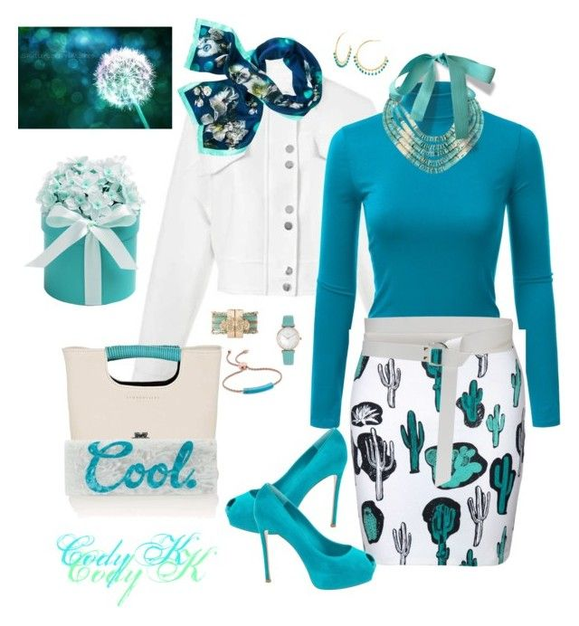 """""""Turquoise & White"""" by cody-k ❤ liked on Polyvore featuring Doublju, Nude, Gianvito Rossi, Simon Miller, StephieAnn, Monica Vinader, TOUS and Gorjana"""