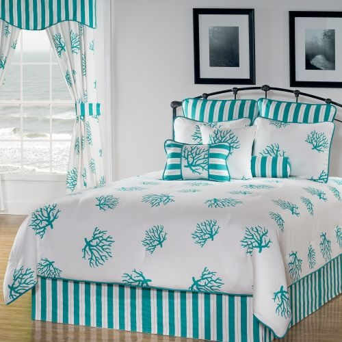 I love the duvet with a bright coral bedding and white, coral and turquoise accent pillows
