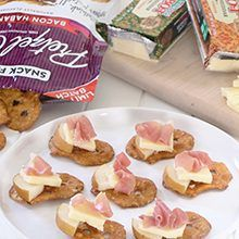 Pancetta Pear Bites with Cabot Cheese and Bacon Habanero Snack Factory® Pretzel Crisps®