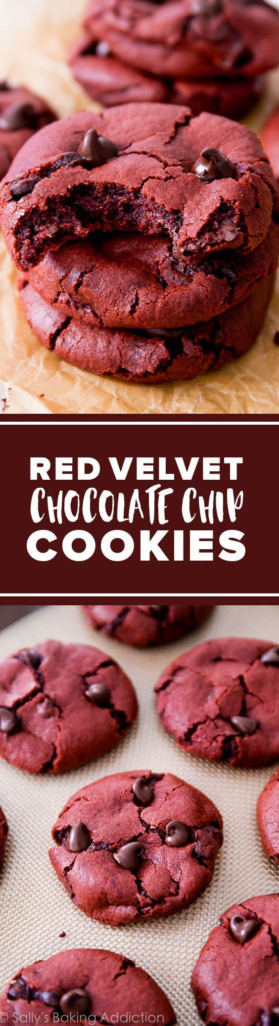 Soft and chewy red velvet cake chocolate chip cookies! Easy chocolate cookies recipe sallysbakingaddic...