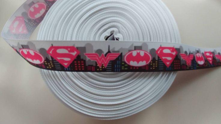 Super hero's 1 inch 1 yard grosgrain ribbon by HandGCrafts on Etsy #batgirl #wonderwoman #supergirl