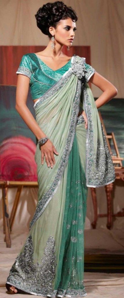 #Northern #drape: In the north of India, the #sari #saree is #worn with the end of the #pallu #covering the bosom. In the front, they have #skirt #pleats and the #pallu is draped around the #shoulders.