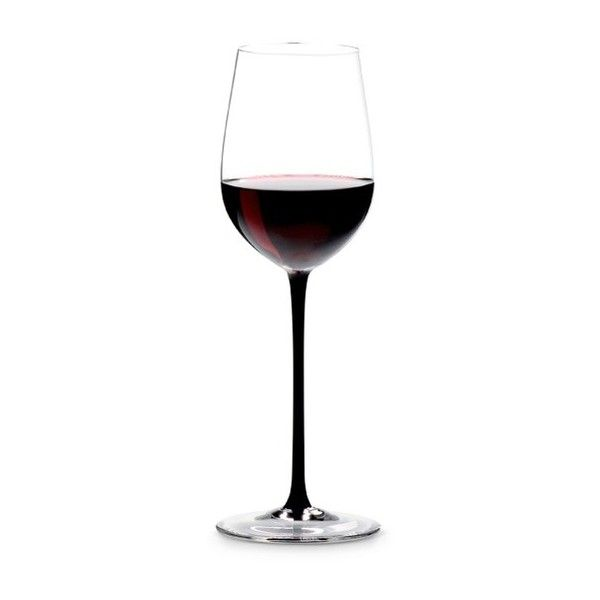 Riedel Sommeliers Black Tie red wine glass - Mature Bordeaux (140 AUD) ❤ liked on Polyvore featuring home, kitchen & dining, drinkware, riedel wine glass, riedel stemware, riedel wine glasses, black stemware and black wine glass