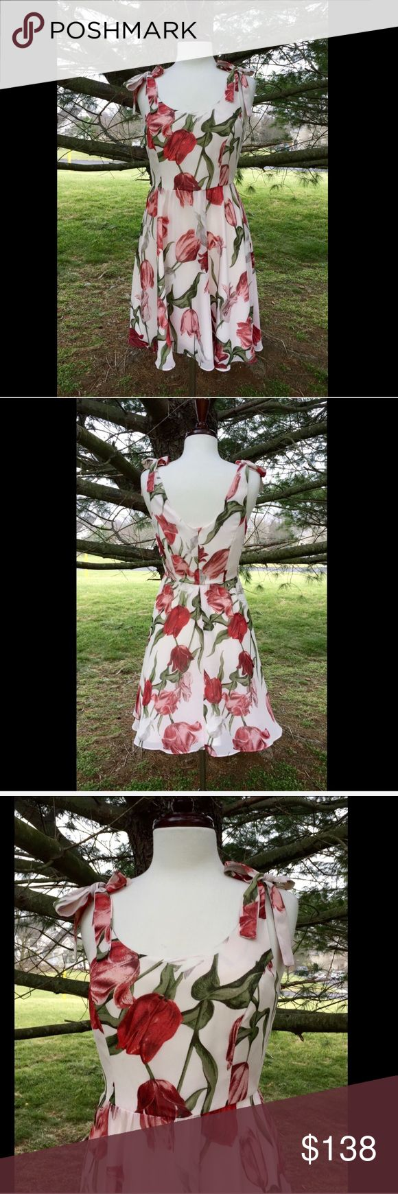 Selling this Anthropologie pink Tulip Floral Fit Flare Dress S on Poshmark! My username is: richbororiches. #shopmycloset #poshmark #fashion #shopping #style #forsale #Anthropologie #Dresses & Skirts