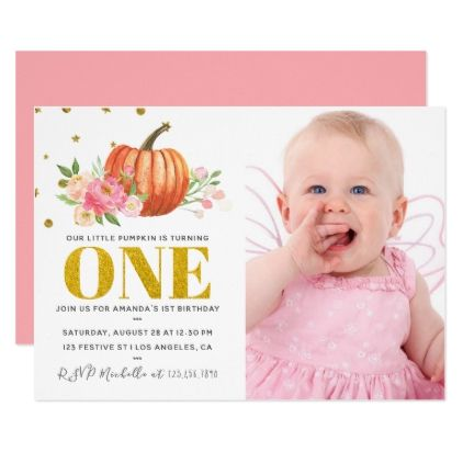 Our Little Pumpkin 1st Birthday Baby Girl Party Card
