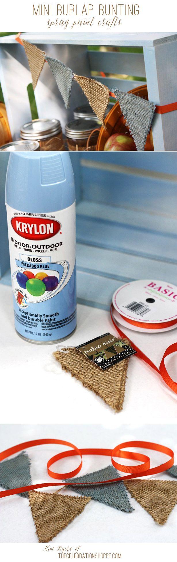 Spray Paint Craft – Fall Harvest Mini Burlap Banner   Kim Byers, TheCelebrationShoppe.com #easycraft #bunting #spraypaint