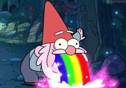 Usa desde tu teléfono móvil el gif animado de Gnomo vomitando arcoiris de gnomos