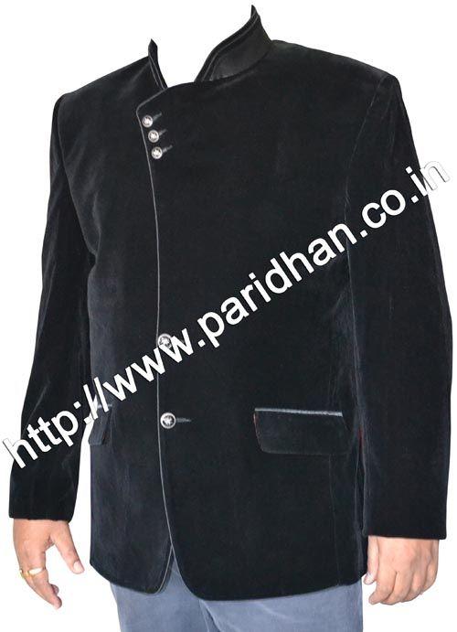 Angrakha style velvet blazer made from black color uncrushable velvet fabric. Dry clean only.