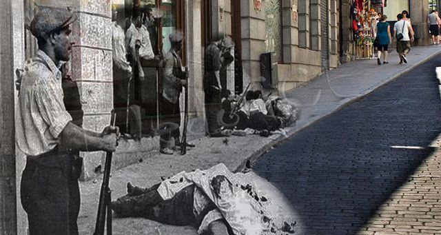 Cadáveres de milicianos en la calle Armas , Toledo