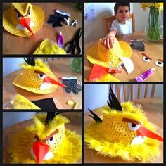 Homemade Angry Bird Easter hat.