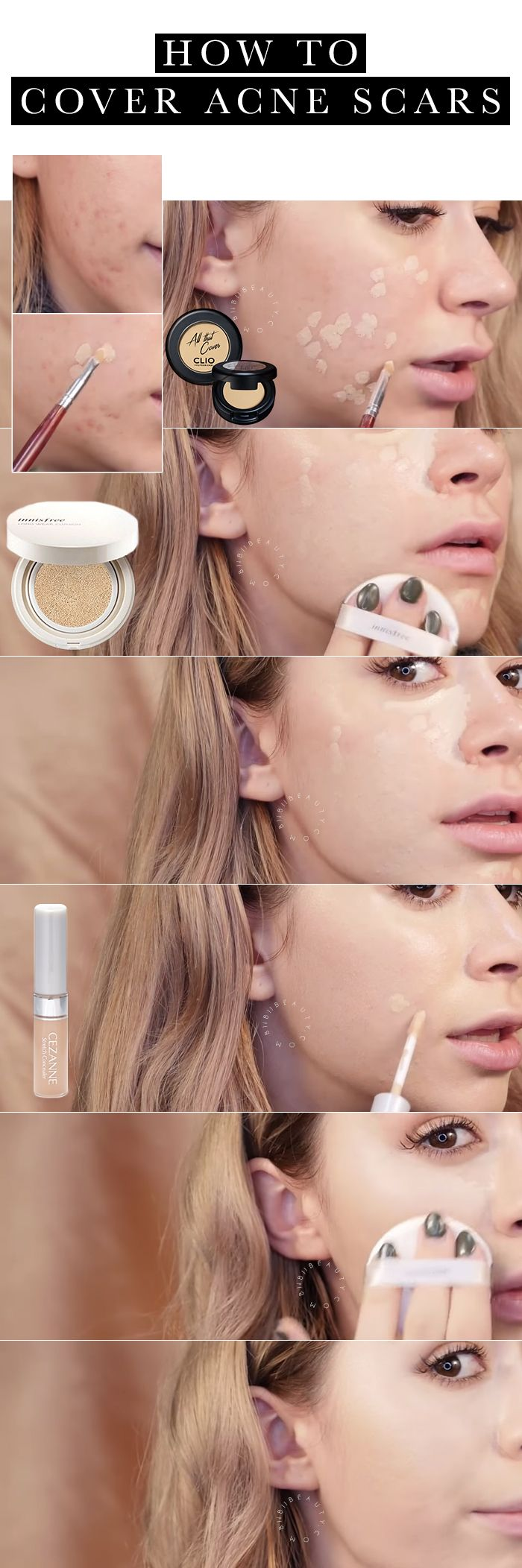 HOW TO COVER ACNE SCARS biibiibeauty http://www.biibiibeauty.com/how-to-cover-acne-scars/