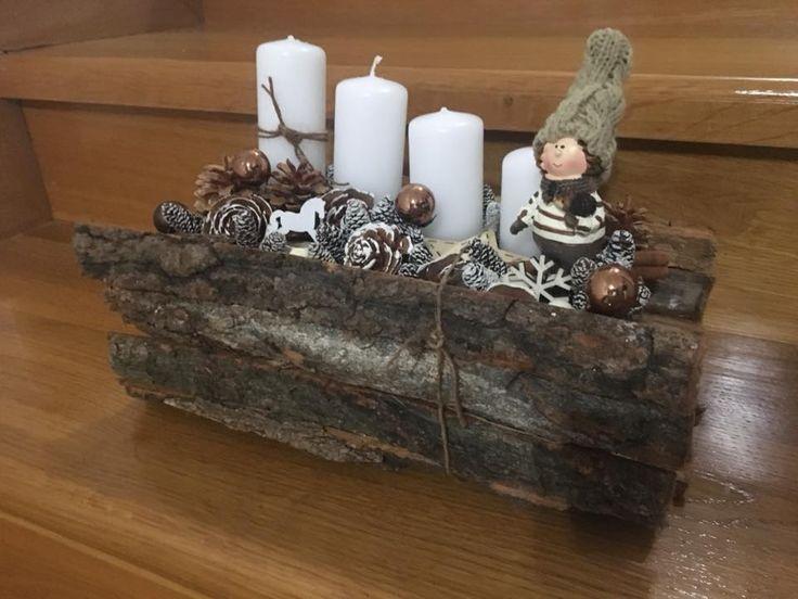 Erdei fakérges manóval   / advent   karácsony  koszorú  gyertya  egyedi   saját készítésű  ünnep  toboz  hintaló  manó  gömb  dísz /