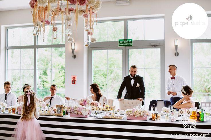 Glamour Wedding,Head table decor,enterpieces,Pink, Flower decoration,Black&white / Wesele glamour,Dekoracja stołu Pary Młodej,Różowe dekoracje,Anioły Przyjęć