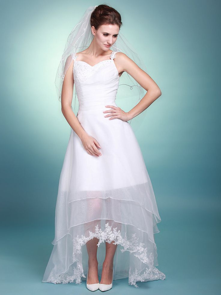 Sweetheart A Line Wedding Gown with Sheer High Low Skirt