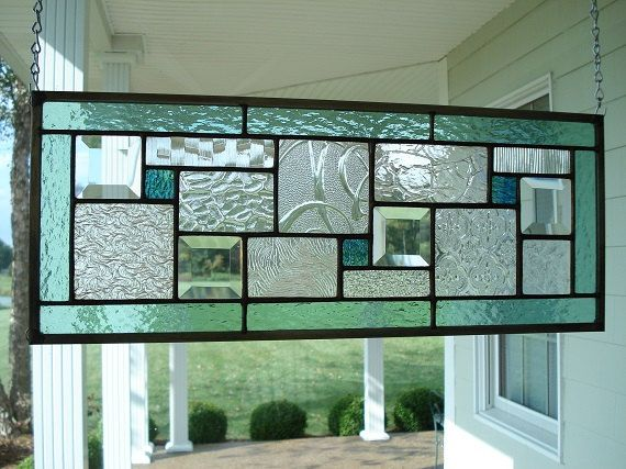 Stained Glass Panel Seafoam Green Window Transom