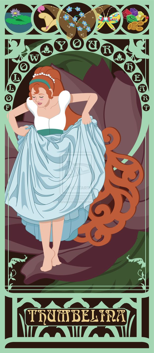 Thumbelina - | 10 Beautiful Art Nouveau Posters Of '80s And '90s MovieHeroines