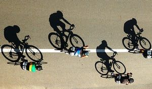 Gold Coast, AustraliaShadows are cast by cyclists during the Cycling Road Race Test Event along Currumbin Bay. The Road Race is a test event for The 2018 Commonwealth Games that will be held on the Gold Coast