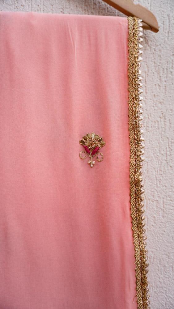 c14446a182202c Peach Gota Patti Saree with Fuschia Blouse in 2019 | Designer dress ...