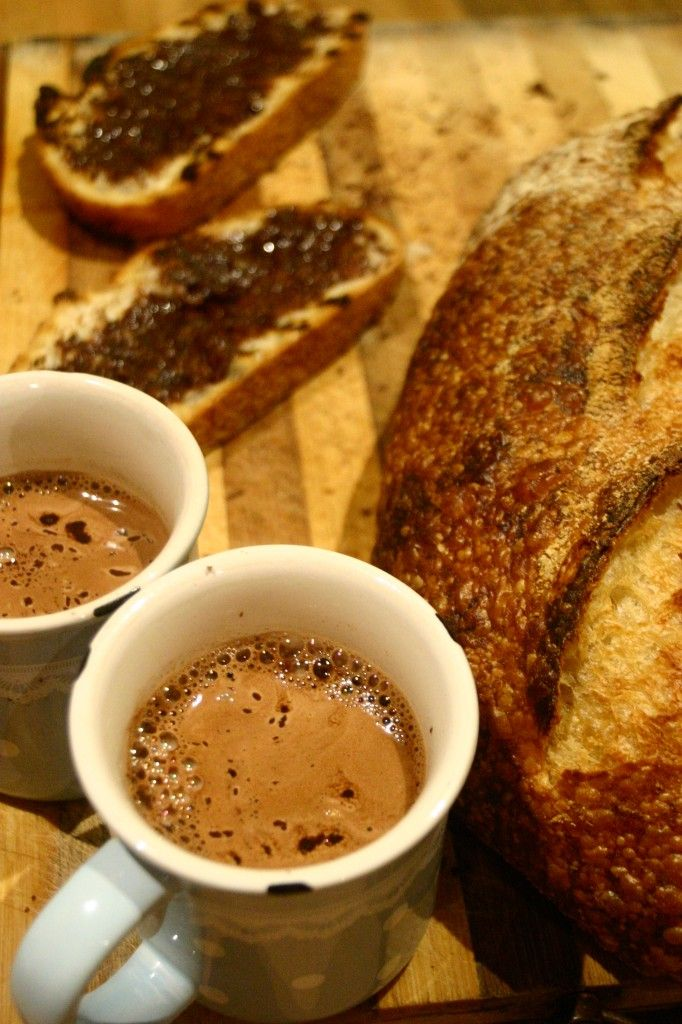 @ chocolatey offerings - homemade dark chocolate and hazelnut spread and real hot chocolate