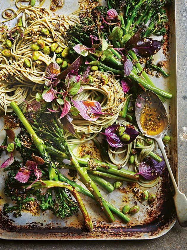 sesame and nori roasted broccolini with green tea noodles | donna hay