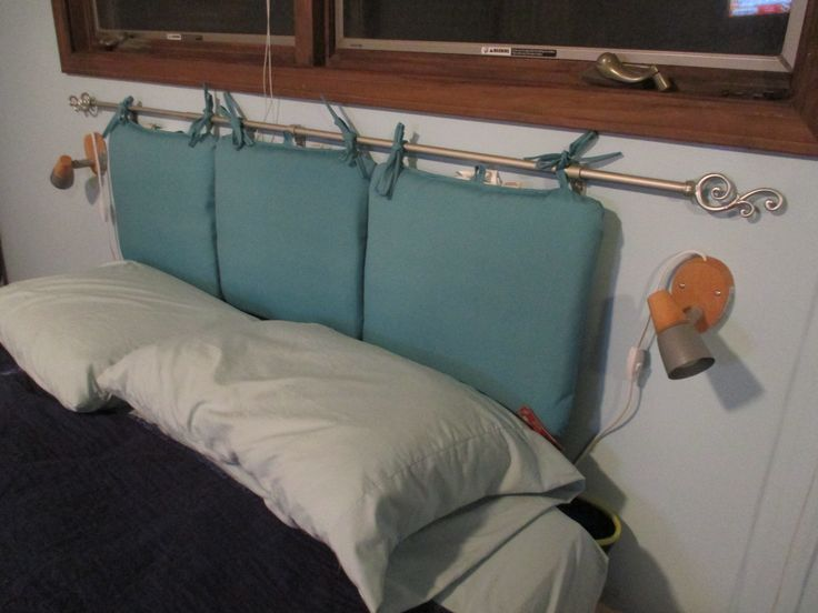 Curtains Ideas curtain rod close to wall : Patio chair pads hung from a curtain rod attached to the wall ...