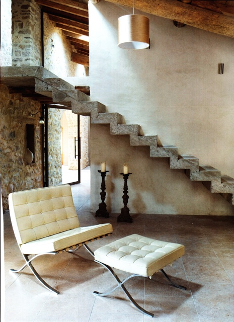 love the stairs, barcelona chair.  italy.