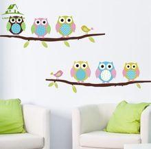 Животных мультфильм сова дерево виниловые наклейки на стены для детей номеров мальчики девушка home decor диван гостиной стены наклейки ребенок наклейки обои(China (Mainland))