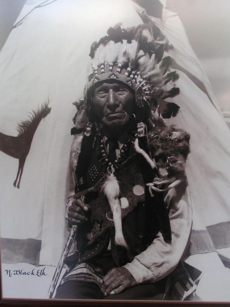 Black Elk (Hehaka Sapa, Ekhaka Sapa) Wičháša Wakȟáŋ (Medicine Man or Holy Man) of the Oglala Lakota (Sioux).  Heyoka and a second cousin of Crazy Horse.  December 1863-August 19, 1950
