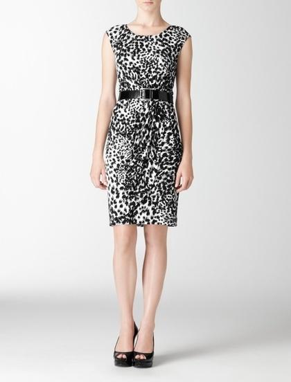Abstract Leopard Print Matte Jersey Dress Fall Preview