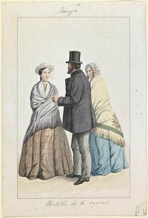 Tunja. Notables de la capital. Lámina de la Comisión Corográfica, 1850-1859. Colección Biblioteca Nacional de Colombia.