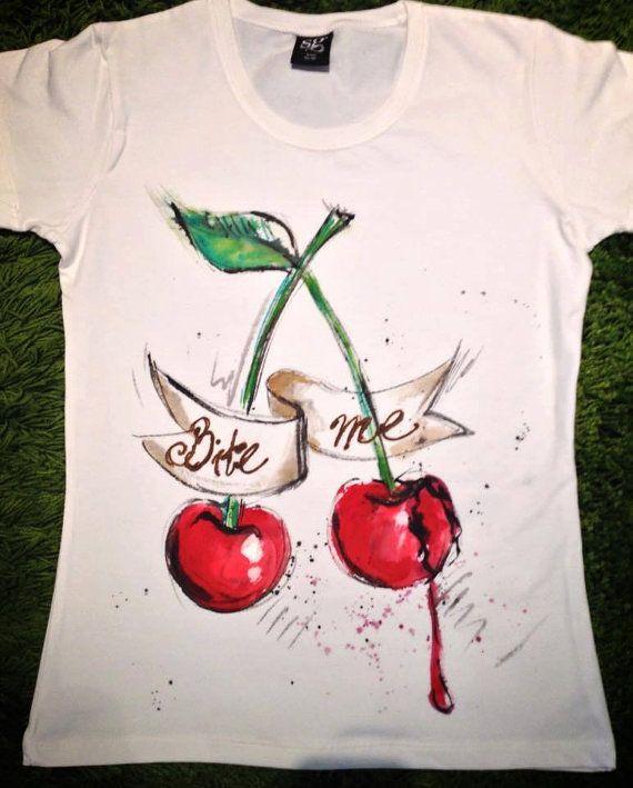 Bite me cherry Tshirts. Designer Red Cherry by palettePandora