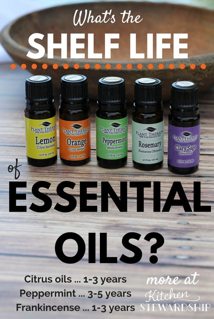 Shelf Life of Essential Oils - might be less than you expect. Print this handy chart to help you remember how long you can keep your (expensive) essential oils. Don't buy huge bottles if you don't use them regularly!