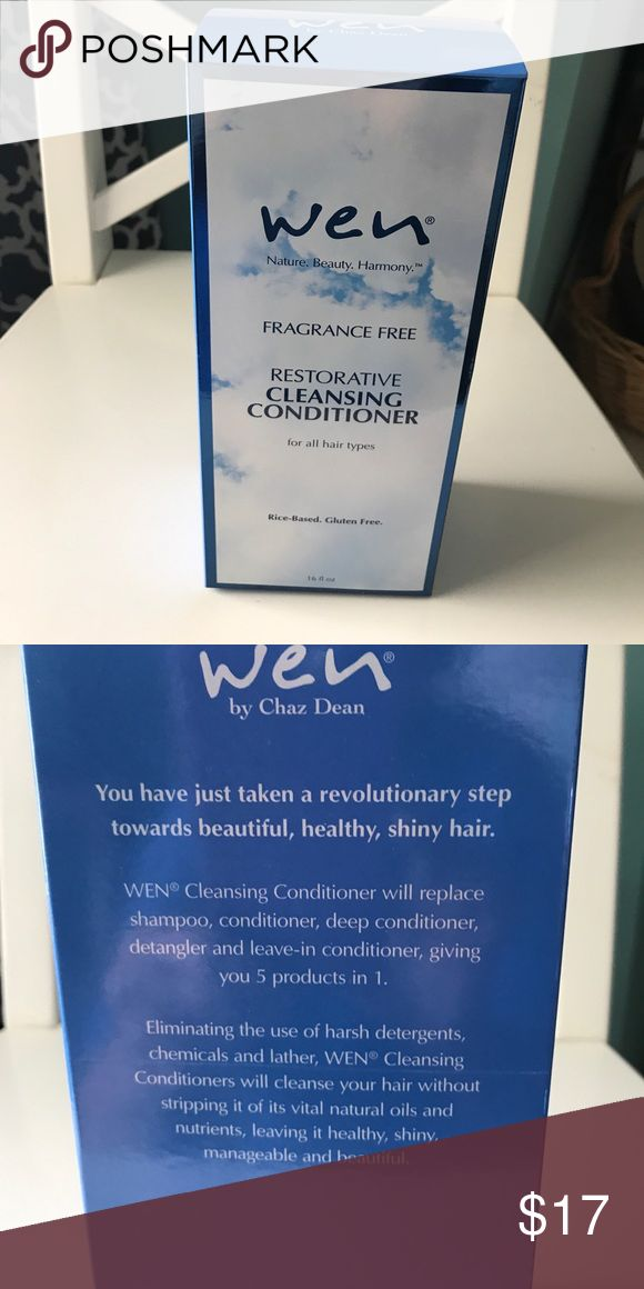 Wen Cleaning Conditioner Fragrance Free Restorative cleaning conditioner.  Rice-based and Gluten free.  16 ounce unopened box. Wen replaces shampoo, conditioner, deep conditioner, de tangled and leave-in conditioners, giving you 5 products in one. Wen Other