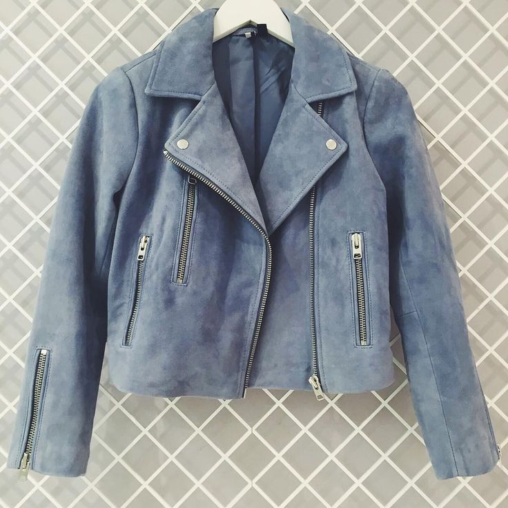 Rock leather suede for now in the ultimate biker jacket. Effortlessly cool, it comes in an authentic pale blue suede with silver hardware and zipped trims. Includes multiple pockets and a zip front fastening. #Topshop