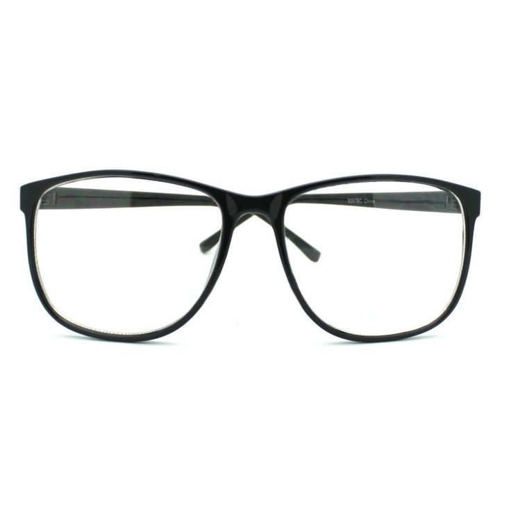 Big Plastic Frame Glasses : Black Large Nerdy Thin Plastic Frame Clear Lens Eye ...