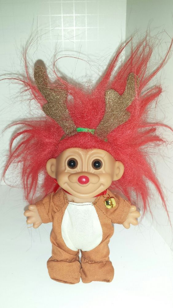 """Russ Troll Christmas Rudolph Red Nose Red Hair 5"""" #Russ #DollswithClothingAccessories"""