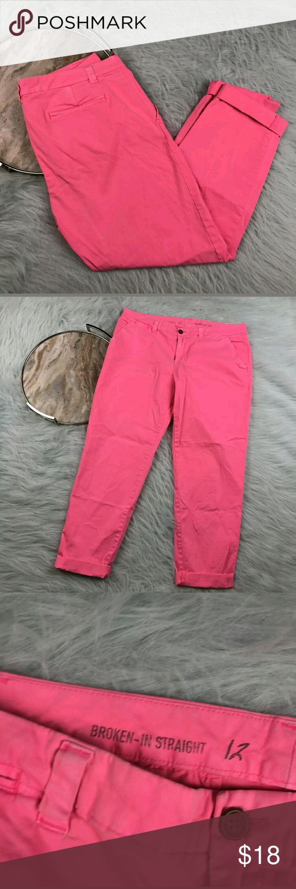 """Gap Broken In Straight Leg Neon Pants Gap neon pink straight leg khaki pants. Womens size 12. Gently used, without flaws. See pictures for details.  Waist laying flat - 18"""" Rise - 10"""" Inseam - 29""""  Inventory 04122017 GAP Pants"""