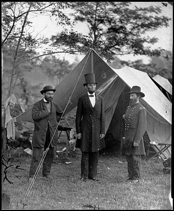 pictures of gettysburg | Allan Pinkerton of the secret service, President Lincoln, and Major ...