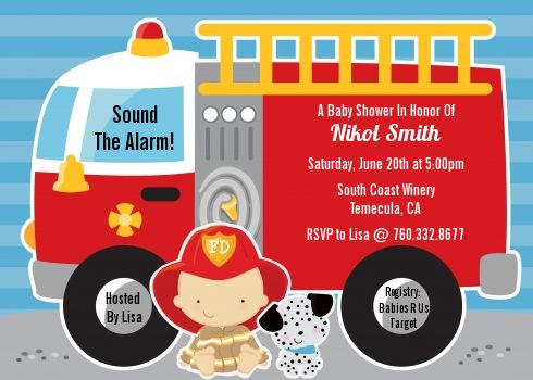 Future Firefighter   Baby Shower Invitations