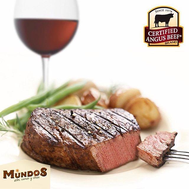 Combina lo mejor de dos mundos: Nuestra deliciosa carne #CertifiedAngusBeef y una botella de vino. ¡Eleva tu experiencia! #MundosRestaurante la mejor carne del mundo. Visítanos en Llanogrande. Reserva en el 5371835 o a través de www.mundos.com.co