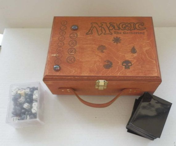 Customized Wood Deck Box Holds 9 Standard Sized Decks for MtG Magic the Gathering  A Magic briefcase?