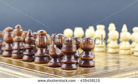 Chess pieces arranged on the board