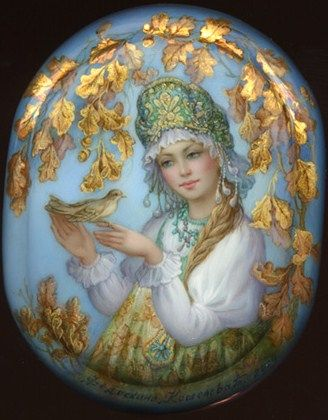 Russian lacquer miniature from the village of Fedoskino. Russian beauty in kokoshnik (a headdress) is listening to a bird's song.