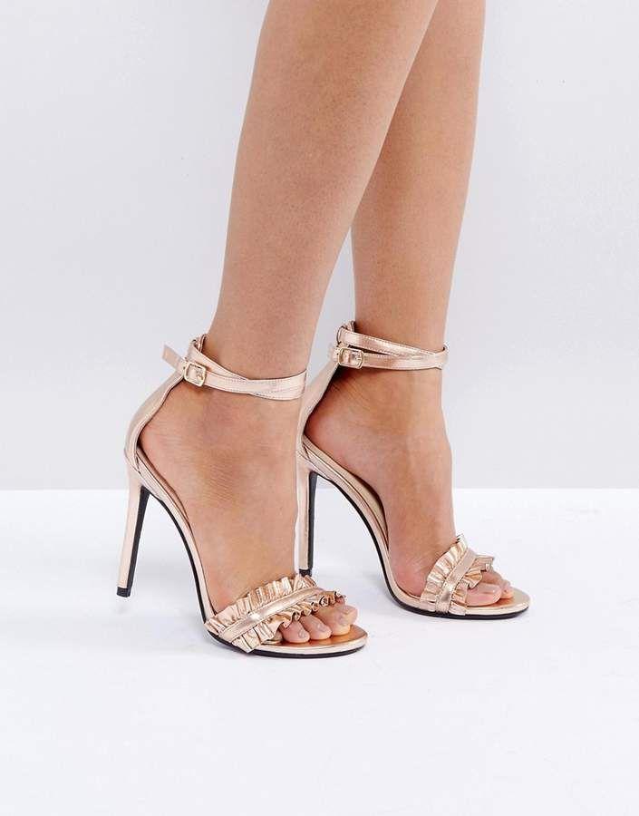 ba874d1527114 Public Desire Pheonix Rose Gold Ruffle Heeled Sandals | Fashionable ...