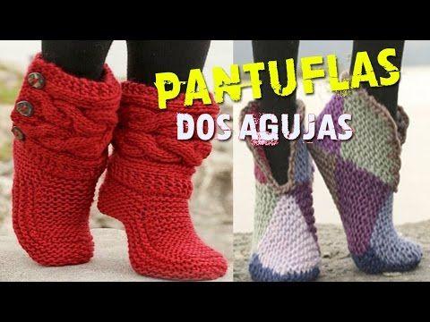 Pantuflas de Lana - Tejidas en dos Agujas - YouTube