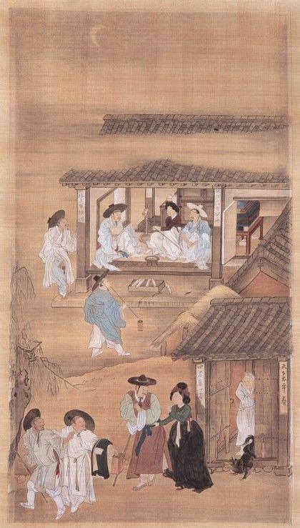 (Korea) 기방쟁웅, 행려풍속도 by Kim Hong-do (1745- 1806). National Museum of Korea.